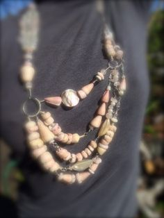 """38"""" Adjustable Hawaiian Pink Puka Shell Mrs. T. Bling Necklace. Love Love this Necklace! Took so long to find all the pink shells. Found them all in South Kona Hawaii.                                                                   Handmade by Carmen"""
