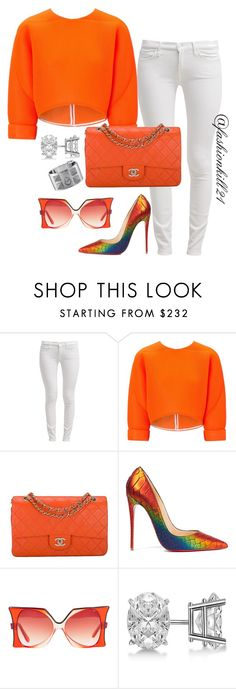 """""""Untitled #1360"""" by fashionkill21 ❤ liked on Polyvore featuring 7 For All Mankind, Maticevski, Chanel, Christian Louboutin, Pierre Cardin, Allurez and Hermès"""