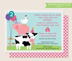 Girls Birthday Party Invitation Barnyard Birthday Invitation