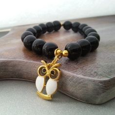 Black glass owl pendant bracelet christmas gift idea for her