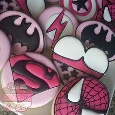 Girl Pink Super Hero Cookies, Superhero Cookies, Spiderman Cookies, Superman Cookies, Batman Cookies - visit to grab an unforgettable cool Super Hero T-Shirt! Superman Cookies, Superhero Cookies, Girl Superhero Party, Superhero Cake, Batman Party, Baby Cookies, Sugar Cookies, Valentine Cookies, 10th Birthday Parties