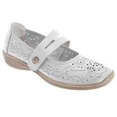 Boulevard WomensLadies Touch Fastening Perforated Bar Casual Leather Shoes 10 US White ** Find out more about the great product at the image link. Note:It is Affiliate Link to Amazon.
