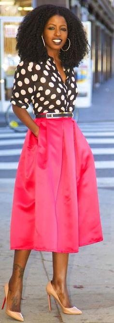 Polka Dot Shirt + Box Pleat Midi Skirt by Style Pantry