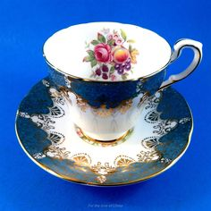 Fruit and Floral with Blue Trim Paragon Tea Cup and Saucer Set   Pottery & Glass, Pottery & China, China & Dinnerware   eBay!