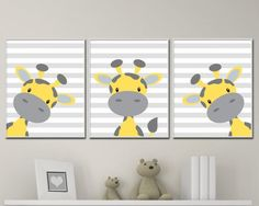 Baby Giraffe Nursery Art, Yellow And Gray Nursery Art Decor, Giraffe Nursery Art Prints -P221,222,223 This listing is for 3 art prints only - frame