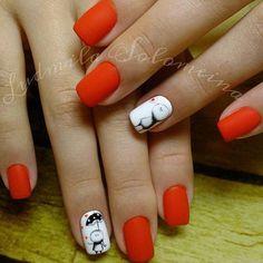 Defiant nails, Fashion nails 2016, Festive nails, Hearts on nails, Matte nails, Matte nails with glossy pattern, Nail designs for short nails, Red and white nails