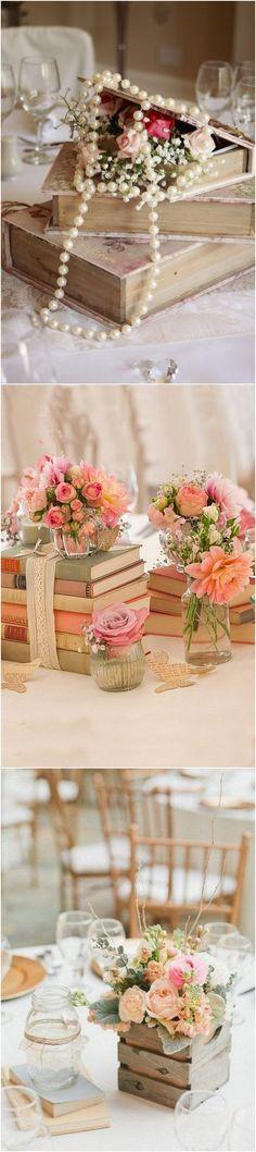 vintage books wedding centerpiece ideas