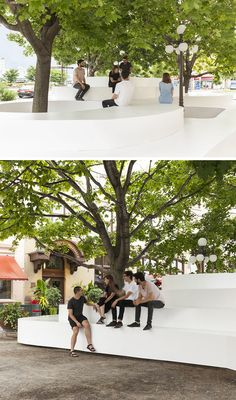 Atelier Pierre Thibault designed a public seating installation named Le Banc de Neige (The Bench of Snow) that was inspired by the snowbanks that gather around the trees and street lights in winter. Urban Landscape, Landscape Design, Garden Design, Urban Furniture, Street Furniture, Concrete Furniture, Garden Seating, Outdoor Seating, Garden Benches