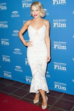 The Next Wave Of Mermaid Dresses Has Arrived #refinery29  http://www.refinery29.com/celebrity-cropped-mermaid-dress-trend#slide-1  Rachel McAdams' bonded midi Little White Dress by Jonathan Simkhai features some nice white-on-white patterning that creates a slight see-through effect. The trumpet silhouette opens up the formfitting skirt, the cropped length giving the flounce hem even more volume....