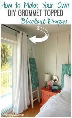 How to make your own DIY Grommet Topped Blackout Drapes at thehappyhousie.com