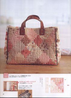 / log cabin big boston bag by korean textile artist anna / eun y kim / anna studio / Quilted Tote Bags, Patchwork Bags, Reusable Tote Bags, Japan Bag, Bag Patterns To Sew, Fabric Bags, Big Bags, Vintage Bags, Handmade Bags