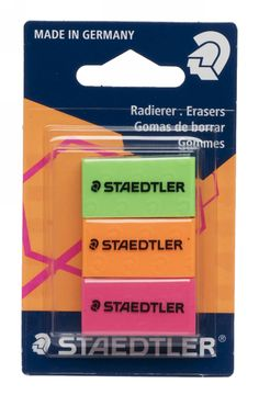 Staedtler Neon Small Erasers (Pack of 3) | WHSmith