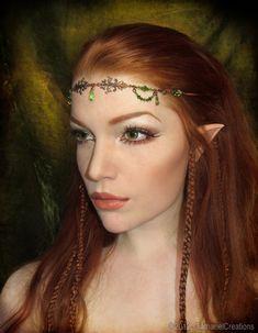 Elf hair makeup and beaded headband Elf Makeup, Costume Makeup, Halloween Makeup, Hair Makeup, Halloween 2018, Makeup Ideas, Elf Hair, Woodland Elf, Woodland Fairy Makeup