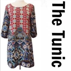 """Beautiful Printed Tunic Absolutely beautiful tunic! Scoop neck with 3/4 billowy sleeves. The back of the tunic is hollowed out at the top for extra umph. Pffs pair this with leggings, jeggings, skinnies or skinny bells. Cute with boots or sandals. Look in my closet for jewelry ideas. Get my attention if you need help ▪️SMALL B:17.5"""". W:19"""" H:21"""" SLV L:16"""" SLV H:9"""" Ec:4"""" S-H:33"""" ▪️MED B:18"""" W:19.5"""" H:21.5"""" SLV L:16"""" SLV H:9.5"""" Ec:4.5"""" S-H:33.5"""". ▪️LARG B:19.5"""" W:20"""" H:34"""" SLV L:16"""" SLV H:10…"""