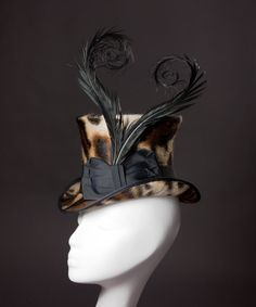 Impeccably made Leopard Print 'Viola' Top Hat by Tricia Roush at HouseofNinesDesign. I love her work!