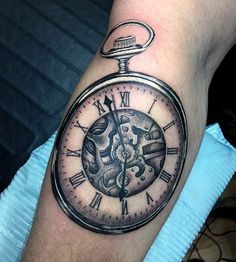 Males Forearms Nice Pocket Watch Tattoo