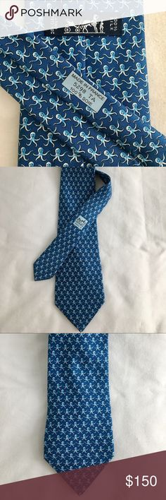 Hermès octopus print silk tie Hermès blue octopus print silk tie. Authentic & in PRISTINE condition (husband received as a gift & only wore once). Made in France. Hermes Accessories Ties
