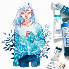 Watercolor Girl, Watercolor Paintings, Watercolors, Manga Art, Anime Art, Art Sketches, Art Drawings, Character Art, Character Design