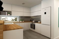 Apartment Rembertów 80 - Average open kitchen in the shape of the letter L, minimalist style - image of design me too Kitchen Cupboard Designs, Kitchen Room Design, Kitchen Colors, Home Decor Kitchen, Kitchen Furniture, Kitchen Interior, Furniture Plans, Kids Furniture, Apartment Kitchen