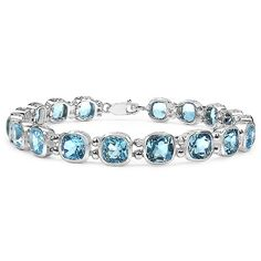 """This contemporary tennis bracelet gleams with channels of the mega-watt brilliance of 20.16 carats T.W. of cushion princess-cut blue topaz. Lots of glitz and dazzle. Sure to become your go-to bracelet. 7 1/2"""" length. Sterling silver. (Carat weight may vary by plus or minus 5% of stated carat weight.)"""