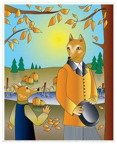 8x10 Loup père et fils