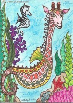 Original ACEO NFAC zentangle giraffe sea creature zebra sea hourse Drawing