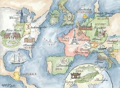 Watercolor Large Travel Map DIY, print at home or order prints