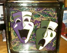 Mardi Gras Lighted Glass Block