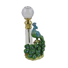 Collectible Peacock figurine Perfume Bottle Bejeweled pewter enameled green blue | eBay