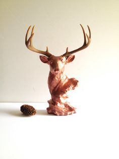LITE BRONZE Stag Animal Bust Statue// Steig the Stag Deer Head for table top /nursery decor /bracelet organizer /jewelry hanger / hook