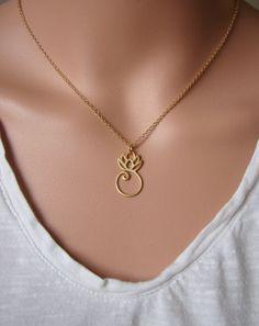 Gold Lotus Necklace, Gold Lotus Charm, Gold Lotus Pendant, Meditation Jewelry, Yoga Jewelry, Spiritual Necklace