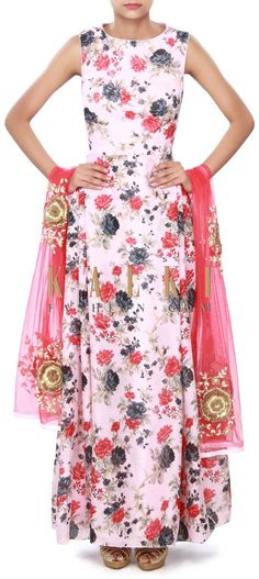 Buy Online from the link below. We ship worldwide (Free Shipping over US$100) Price- $309 Click Anywhere to Tag http://www.kalkifashion.com/pink-floral-anarkali-suit-enhanced-with-embroidered-dupatta-only-on-kalki.html