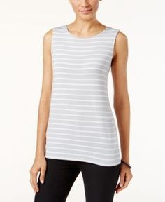 Alfani Prima Striped Tank Top, Only at Macy's - Luxe Stripe Grey XXL