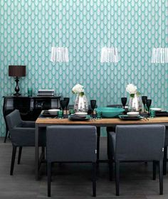 Turquoise pattern wallpaper in dining room