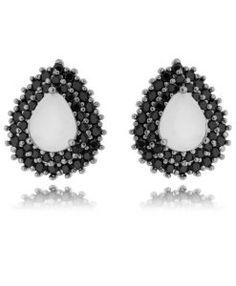 brinco sofisticado com zirconias de qualidade negras e branca leitosa semi joias online