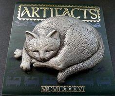 Artifacts JJ Sleeping Cat Brooch Pin Pewter Vtg