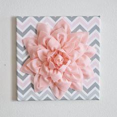 "TWO Wall Flower Decor -Light Pink Dahlia on Pink and Gray Chevron 12 x12"" Canvas Wall Art- Baby Nursery Wall Decor-"