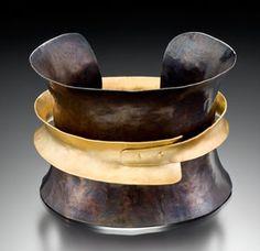 Bracelet |  Suzanne Q. Evon.   oxidized silver and gold.