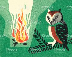 Owl and campfire royalty-free stock vector art