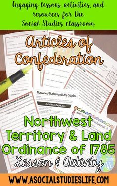 Why did the Founders think a Constitution was necessary and how did they split up new land? Students will research and analyze the creation of the Articles of Confederation, the problems with the Articles, and how the Northwest Territory was organized using the Land Ordinance of 1785. Great activity for middle school Social Studies.