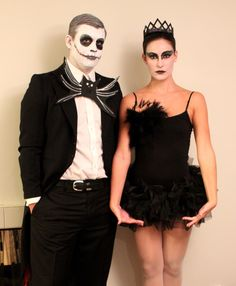 Homemade costumes with a black dress