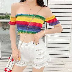 clothes for women,womens clothing,womens fashion,womans clothes outfits Korean Girl Fashion, Ulzzang Fashion, Cute Casual Outfits, Pretty Outfits, Pride Outfit, Rainbow Outfit, Teen Fashion Outfits, Womens Fashion, Korean Outfits