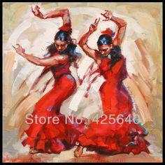 Spaanse flamenco danseres schilderij latina vrouw schilderen met olieverf op doek van hoge kwaliteit met de hand- geschilderd schilderij latina twee meisjes