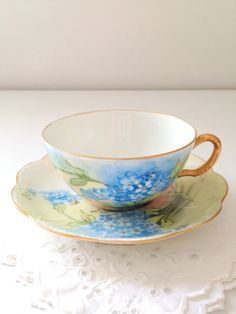 Antique Handpainted Haviland France Teacup and Saucer Tea Party - Ca. 1893 - 1930