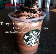 Holiday chocolate time!  Try the Terry's Chocolate Orange Frappuccino or Iced Coffee. #StarbucksSecretMenu Recipes here: http://starbuckssecretmenu.net/starbucks-secret-menu-terrys-chocolate-orange-frappuccino/