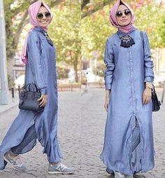 long cardigan with buttons.Hulya Aslan hijab fashion looks http://www.justtrendygirls.com/hulya-aslan-hijab-fashion-looks/