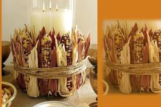 Charming fall centerpiece is easy to make yourself. Tie colored corn to any vase with skinny rope or raffia!