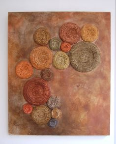 Tree Lichen Painting - Abstract Mixed Media - Evolution - Original - Copper and Green. $520.00, via Etsy.