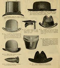 8c030da7a3fee4 1896 Victorian mens hats- top hat, clergyman's hat, bowler, university cap,