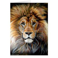 Bold Lion Greeting Card - cat cats kitten kitty pet love pussy